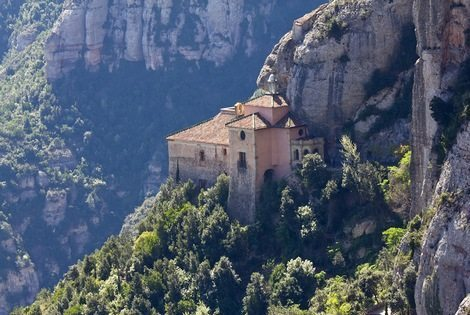 Santa cova (holy cave) in the Montserrat Mountain. It's where was found the Moreneta image (Virgin). Barcelona, Catalonia, Spain