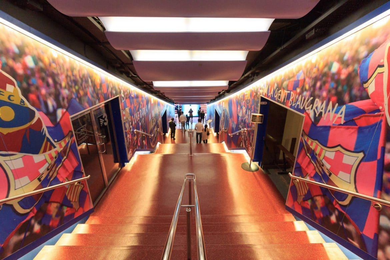 Football stadium Camp Nou players tunnel