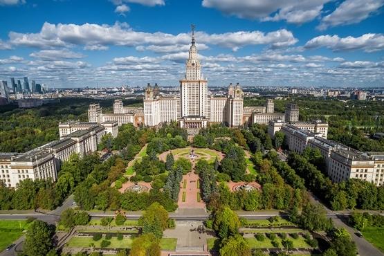 Vista aérea de la Universidad Estatal de Moscú
